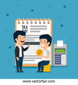 men with service tax report and dataphone