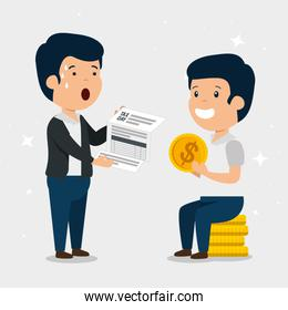 men with finance service tax and coins