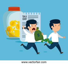 men with money currency and service tax
