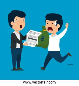 men with finance service tax and money