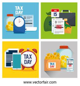 set finance tax report with business document