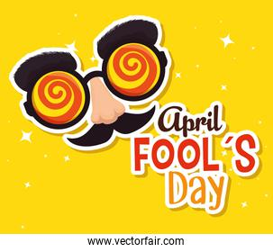 fools day celebration with humor glasses