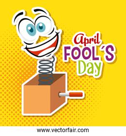 box with funny face to fools day
