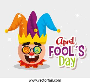 funny face with joker hat to fools day celebration