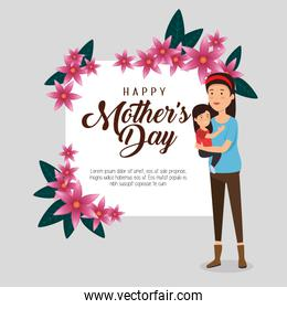 woman with her daughter and card to mothers day
