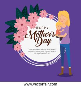 card decoration and woman with her son to mothers day
