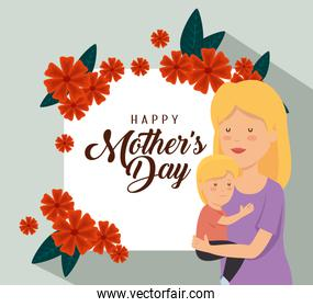 woman with her son and flowers decoration to mothers day