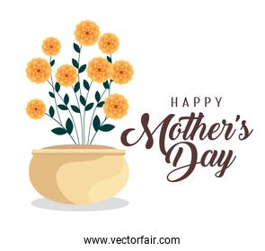 happy mother day celebration with flowers plants