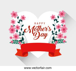 mothers day celebration with flowers and ribbon