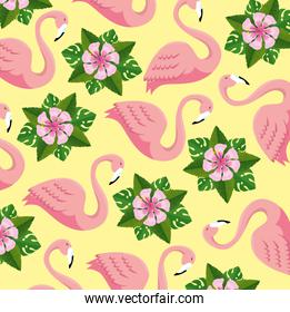 tropical flamingos and flowers with leaves background