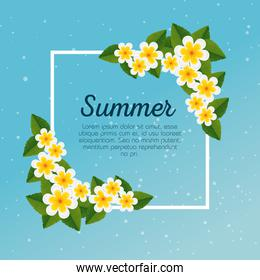 summer card with exotic flowers and tropical leaves