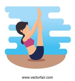 woman doing exercise and body pose