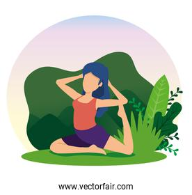 woman doing yoga exercise with plants leaves
