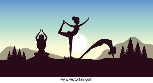 women practice yoga with pines trees and mountains