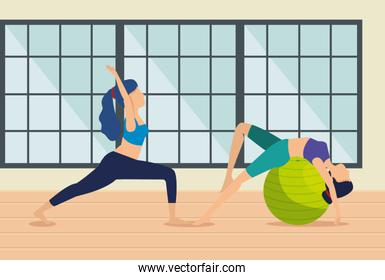 women practice yoga exercise in the house