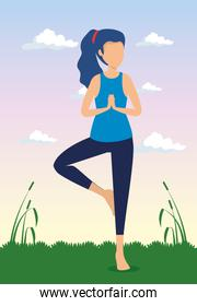 woman doing yoga exercise with plants