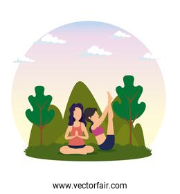 fitness women practice yoga with trees and mountains