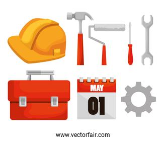 set construction tools and calendar to labor day