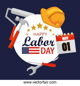 labor day celebration with label construction tools