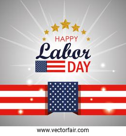 labor day lettring with usa flag