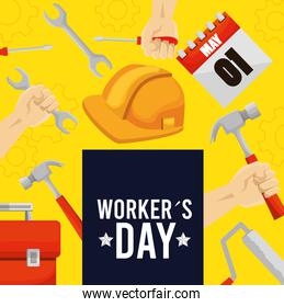 emblem workers day with construction tools