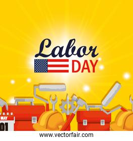 labor day celebration with construction tools