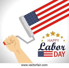 hand with usa flag in the roller to labor day