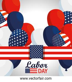 usa flag and balloons to labor day celebration