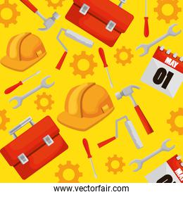 construction box with professional tools background