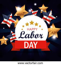 label with usa flag stars to labor day celebration