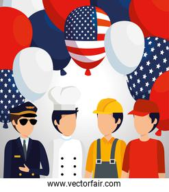 professional employers with usa balloons flag