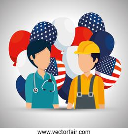 woman doctor and man builder with usa flag balloons
