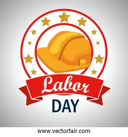 helmet label with stars to labor day