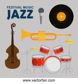 set jazz music day with music instruments