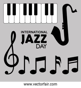 piano and saxophone instruments with music signs