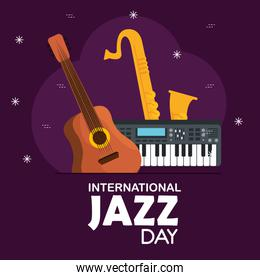 guitar with piano and saxophone to jazz day