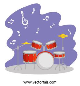 drums instrument with music signs notes
