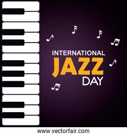 piano with music notes and jazz day