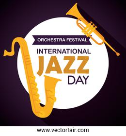 saxophone with trumpet and label to jazz day