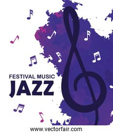 festival jazz day with music notes