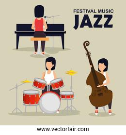 set woman play music instruments