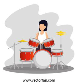 woman play drums instrument music