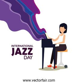 woman play piano to jazz day