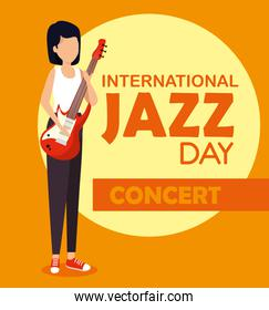 woman play electric guitar to jazz day