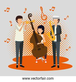 men and woman play music instrument