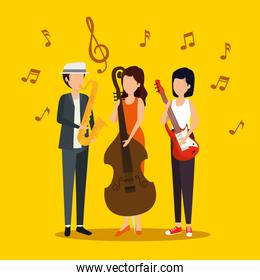 man and women play music instrument