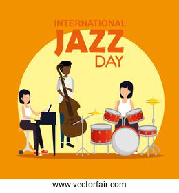 man and women play instruments to jazz day