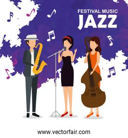 man and women play instruments to jazz festival