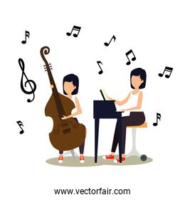 women play instrument with music notes