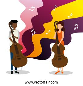 man and woman play cello to jazz day